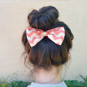 Coral Chevron Hair Bow