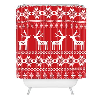 Natt Christmas Red Deer Shower Curtain