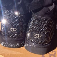 Swarovski Crystal Embellished Uggs in Jet Hematite Crystals - Black Ugg Boots Blinged With Crystals