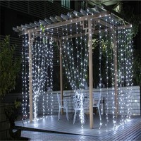 2016 3M x 3M 300 LED Outdoor Home Warm White Christmas Decorative xmas String Fairy Curtain Garlands  Party Lights For Wedding