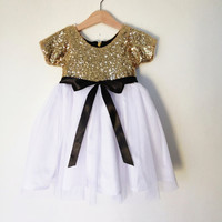 Gold, white and black flower girl's dress, gold sequined dress, short sleeve dress for little girls