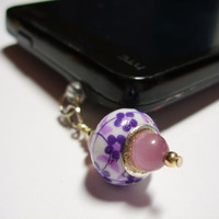 Purple Floral Cell Phone Dust Plug Charm