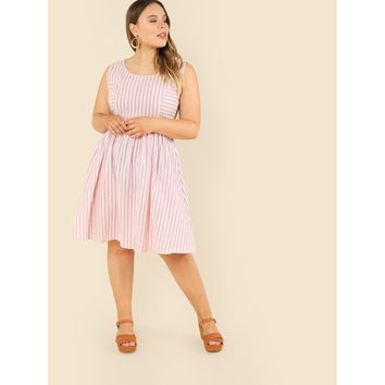 Plus Size Pink Princess Seam Striped Fit And Flare Dress