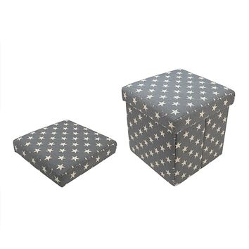"""12"""" Decorative Gray and White Star Collapsible Sqaure Storage Ottoman"""