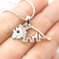 Adorable Triceratops Dinosaur Outline Prehistoric Animal Themed Pendant Necklace in Silver
