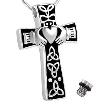 SHIP BY USPS: Celtic Cross Claddagh Urn Necklace for Ashes - Cremation Memorial Keepsake - Funnel Fill Kit Included