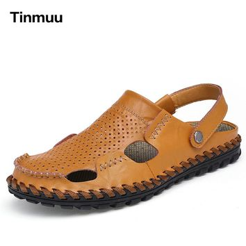Tinmuu Beach shoes Sandals for men Leather loafers Leather Sandals