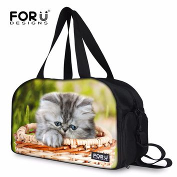 Original Designer Carry on Luggage Bag for Women Cute Kitten Cat Print Travel Duffel Workout Bags Large Capacity Tote Handbags