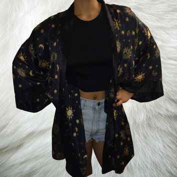 Boho 90's Celestial Kimono Duster / Hippie Sun Moon Stars Galaxy Robe Cover Up / Cosmic Universe Gypsy Festival Draped Jacket / Black Gold
