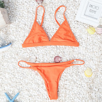 Orange Bikini Set Womens Swimsuit +Free Gift -Random Necklace-46
