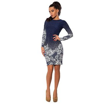 Women Au Polka Dot Floral Print  Pencil Dress Long Sleeve Bodycon Mini