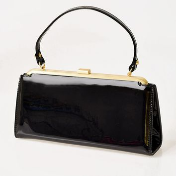 Lola Ramona Black Patent Leatherette Betty Frame Handbag