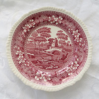 Copeland Spodes Tower Plate, England, Red Transferware, 8 Inch Wall Plate, Spode Collector