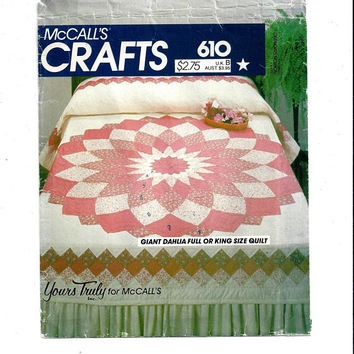 McCall's 610 Pattern for Giant Dahlia Full or King Size Quilt, Yours Truly, 1982, FACTORY FOLDED, UNCUT, Home Quilt Pattern, Vintage Pattern