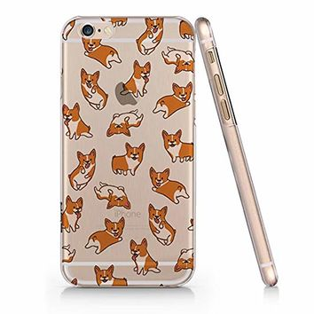 Cute Corgi Dog Pattern Transparent Slim Plastic Phone Case Phone Cover for Iphone Apple Phone_ SUPERTRAMPshop (iphone 6) (iphone 6)