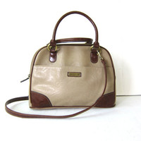 Vintage Cross Body Purse. Preppy Chocolate Brown and Taupe Shoulder Bag.