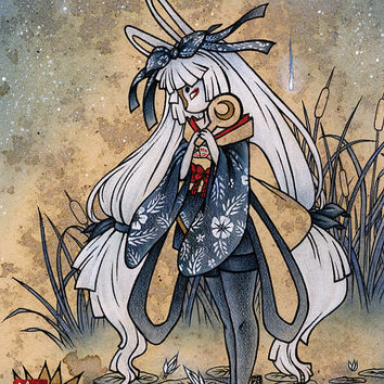 Miri / Moon Rabbit Bunny Yokai / Japanese Asian Style Art / 8x10 Fine Art Print