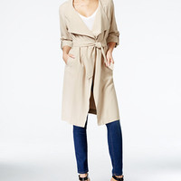 GUESS Fatima Draped Roll-Tab-Sleeve Coat - Juniors Shop All Apparel - Macy's