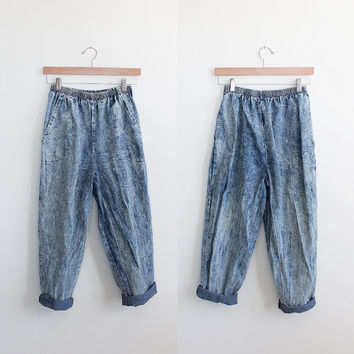 Vintage 80s Acid Wash High Waist Cropped Cotton Pants | small