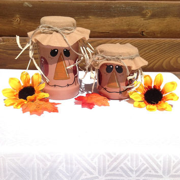 Pair Of Scarecrow Jars - Fall Decor - Shelf Sitter - Home Decor