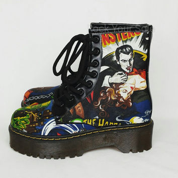 Gothic custom boots.Horror vintage films fabric covered shoes. handmade vampire rockabilly goth werewolf punk shoes