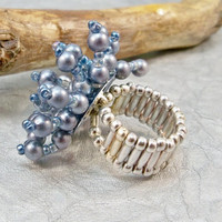Denim Blue Beaded Stretchy Cocktail Ring, Beaded Ring, Womens Ring, Cocktail Ring