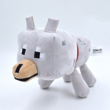 high quality Minecraft Plush Toys Stuffed Plush Toys Minecraft Wolf Plush Toys white 22CM for Kids Plush Toys Dolls