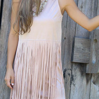 Shades of Suede Blush Pink Sleeveless Suede Dress With Layered Fringe