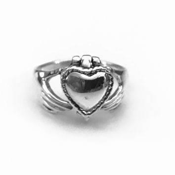 Claddagh Heart Poison Ring, Claddagh Ring, Celtic Ring, Sterling Silver Celtic Ring, Celtic Jewelry, Celtic Design, Celtic Knot Ring