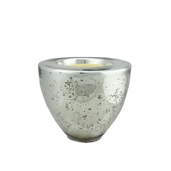 "6"" Decorative Silver Torchiere Shaped Glass Votive Candle Holder with Wax Candle"