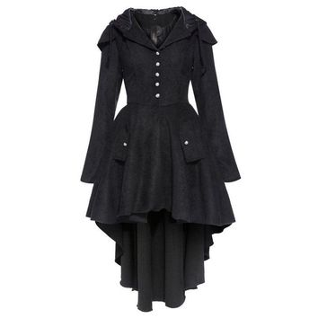 womens vintage coat asymmetric black gothic trench overcoat cape lace up
