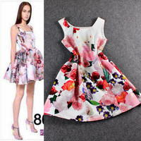 Pink Floral Sleeveless Princess Ruched Mini Dress