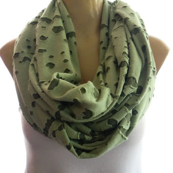 Soft pistachio green  -shredded texture infinity scarf  -Nomad Cowl  Shredded fashion Loop scarf desert scarf - Nomad scarf