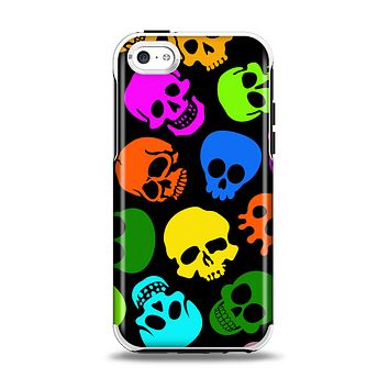 The Vivid Vector Neon Skulls Apple iPhone 5c Otterbox Symmetry Case Skin Set