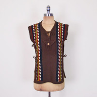 Brown Sweater Vest Top Mexican Poncho Ethnic Sweater Tribal Sweater Tribal Print 70s Sweater Hippie Sweater Boho Sweater S Small M Medium
