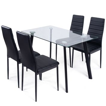 5 Pcs Dining Set Tempered Glass Top Table & 4 Chairs