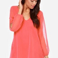 Lucy Love Tallulah Coral Pink Shift Dress