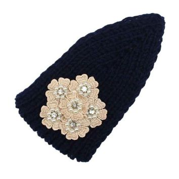 2016 Winter Knitting Headbands Crochet Flower Button Ear Warm Turban Hair Band Female Headband Hair Accessories For Women