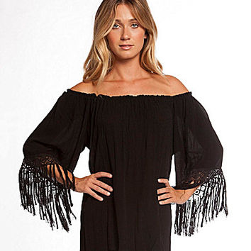 ELAN Off-Shoulder Crochet & Fringe Trimmed Gauze Top