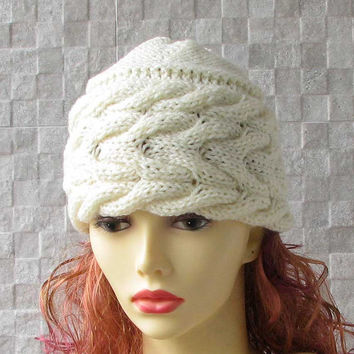 Hand knitted small cap ladies beanie women knit bonnet