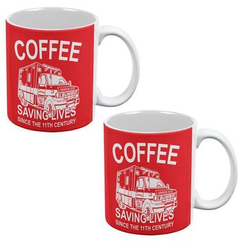 DCCKU3R Coffee Ambulance Saving Lives All Over Coffee Mug Set of 2