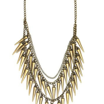 Spike Fringe Bib Necklace Punk Collar Studs NH18 Gold Tone Cascade Chandelier Fashion Jewelry