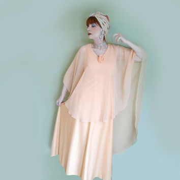 70s Vintage Gown with Attached Chiffon Cape - Formal or Hostess Gown