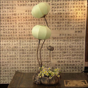 Paper Art Ball Handmade Green Round Shade Lantern Touch Switch Brown Asian Decorative Bedside Bedroom Accent Table Lamp Lighting
