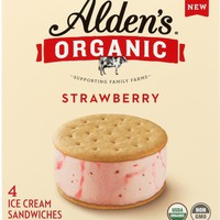ALDENS ORGANIC: Ice Cream Sandwich Strawberry, 4 pk