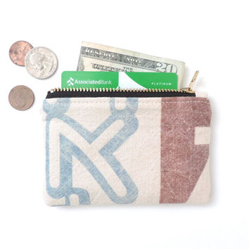 Recycled Wallet Coin Purse Zipper Pouch Japanese Flour Sack