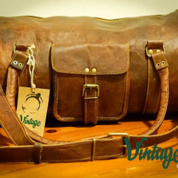 Vintage Handmade Goat Leather Rustic Duffle Bag Round 22''