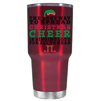 TREK The Best Way to Spread Christmas Cheer on Translucent Red 30 oz Tumbler Cup
