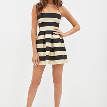 FOREVER 21 Metallic-Striped Strapless Dress Black/Gold