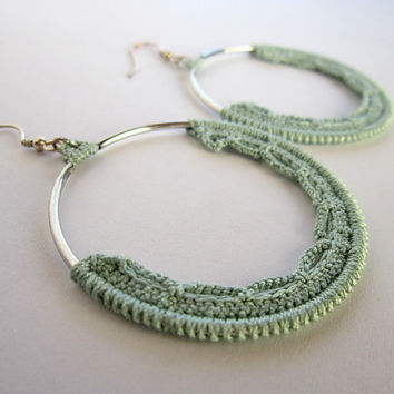 green earrings, crochet earrings,pastel earrings,silver earrings,circle earrings,dangle earrings,valentines gift,hoops green,round earrings